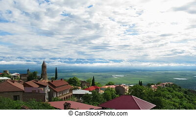 Sighnaghi, Georgia. Panoramic View on the City Landscape....