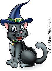 Witches Hat Black Cat Cartoon Character - An illustration of...