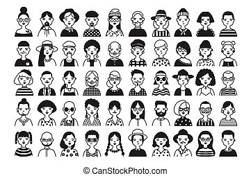 Large collection of male and female cartoon characters or...