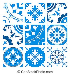 Collection of ceramic tiles with different traditional...