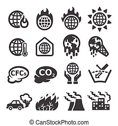 global warming,greenhouse effect icon set,vector...