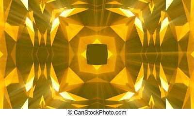 Kaleidoscope gold jewelry pattern background. 3d rendering....