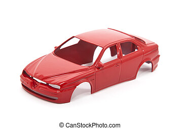 Red toy car body on white background