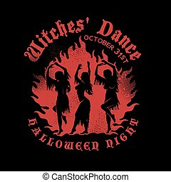 Witches Dancing near a Campfire in the meadow. Witches with...