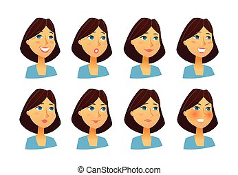 Woman Expressions - vector flat set of images - Woman...