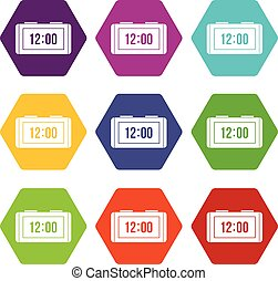 Watch icon set color hexahedron - Watch icon set many color...