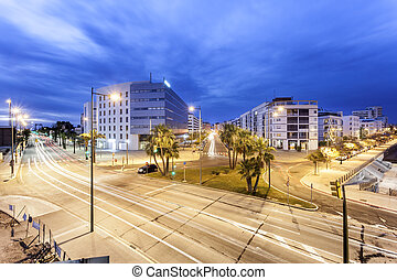 City of Huelva at night, Spain - Streets in the city of...