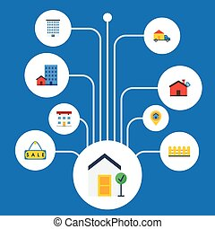 Flat Icons Choice, House, Real Estate And Other Vector...