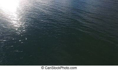 A tilt down aerial drone shot - A shot of the beach water...
