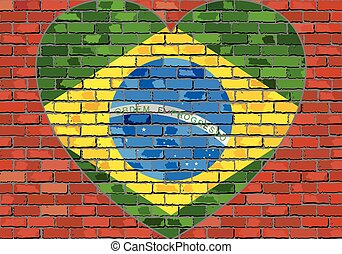 Flag of the Brazil in a heart on a brick wall