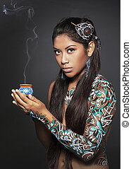 mexican girl in huichol art style - art project - mexican...