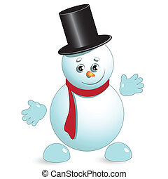 snowman - illustration, new year's snowman in hat on white...