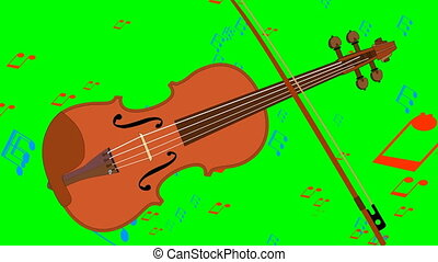 Animated violin and flying music notes on green screen....