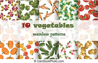 10 mixed vegetables seamless patterns set tomato, carrot,...