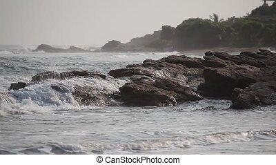 Rocky coast in Accra, Ghana - Rocky ocean coastline in...