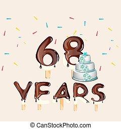 68 years Happy Birthday card. Vector illustration