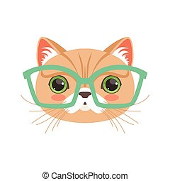 Cute cat wearing glasses, funny cartoon animal character...