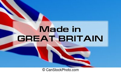 Made in Great Britain animated text in front of the British...