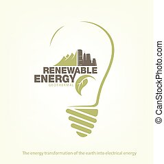 Renewable energy of earth in bulb. concept