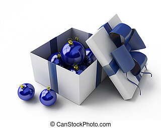 white gift box with blue fur-tree toys