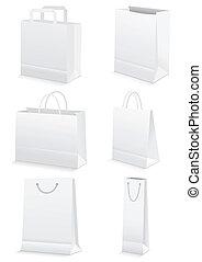 blanco, papel, compras, y, tienda de comestibles, Bolsas