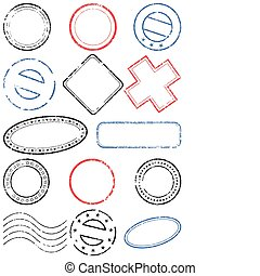 Postmark vector illustration set. - A set of different...