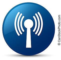 Wlan network icon blue round button - Wlan network icon...