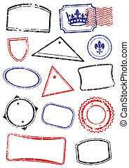 Set of different mock up stamps - Vector set of different...