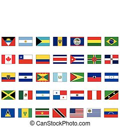 Set of all American countries - Complete vector set of flags...