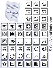 Apparel care instruction symbols - Vector illustration set...
