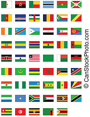 Flag set of all African counties - Complete vector set of...