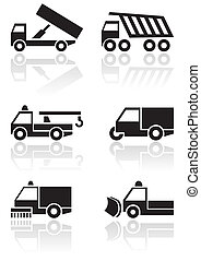 Truck or van symbol vector set - Vector set of different...