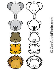 Illustration set of wild animals. - Vector illustration set...