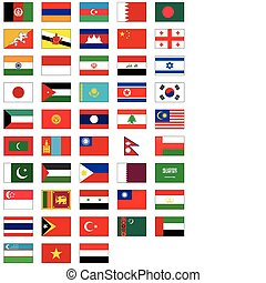 flag set of all Asian countries.