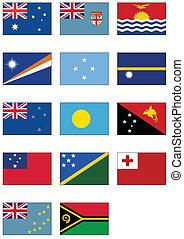 Australian & Oceania flag set