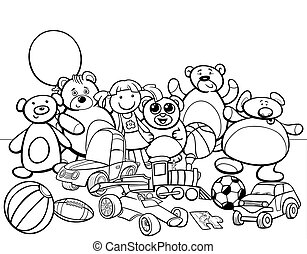 toys group cartoon coloring book - Black and White Cartoon...