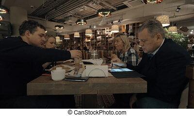 Family dinner in the restaurant