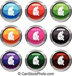 Orangutan set 9 collection - Orangutan set icon isolated on...
