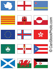 Vector flag set of world continents - Vector set of flags...