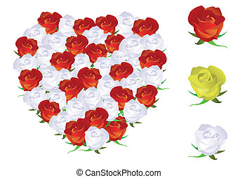 Heart shape made from roses.