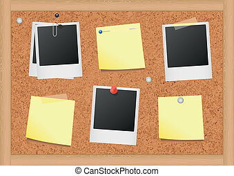 Bulletin board with notes and photo - Vector illustration of...