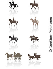 Horse symbol vector set - Horse or pony symbol vector...
