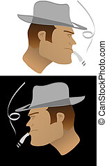 tough guy with hat color vector illustration