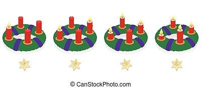Advent Wreath On Four Sundays Burning Candles - Advent...