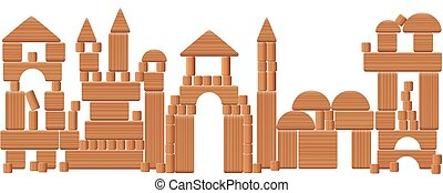 Play City Wooden Blocks - Toy city made of wooden blocks -...