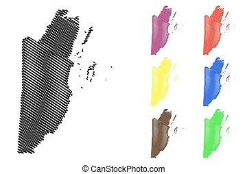 Belize map vector illustration, scribble sketch Belize