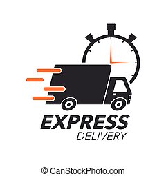 Express delivery icon concept. Truck with stop watch icon...