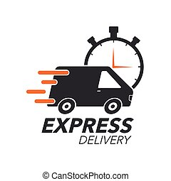 Express delivery icon concept. Van with stop watch icon for...