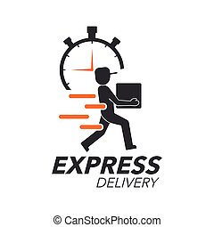 Express delivery icon concept. Delivery man with stop watch...