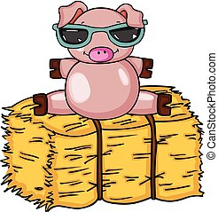 Cute pig with sunglasses on bale of hay - Scalable vectorial...